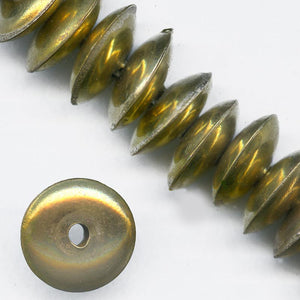 b18-0258- Vintage hollow brass disk bead, India, 6x16mm, package of 6.