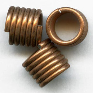 B18-0284-Copper coil beads. 6x8mm, pkg of 10.