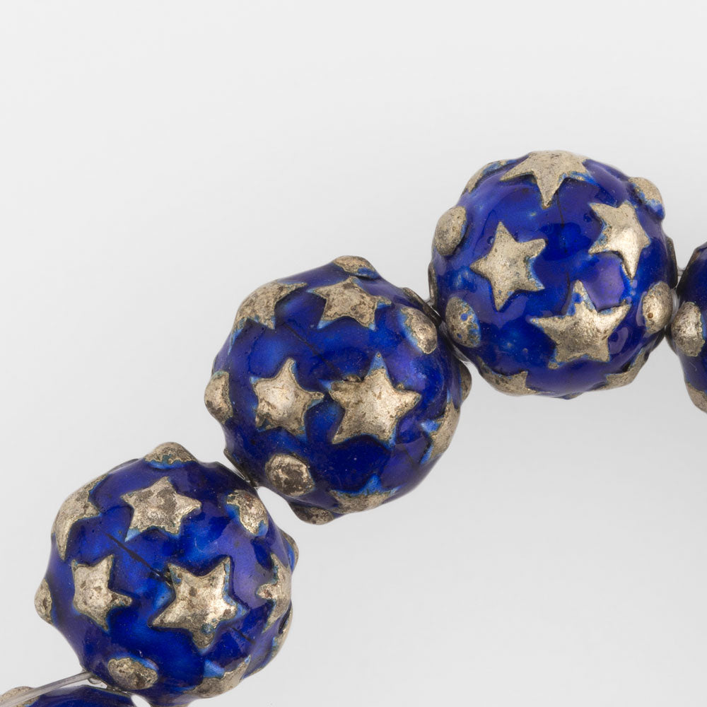 Enamel beads with silver stars, 15mm. Pkg of 1. B18-0304
