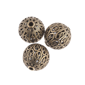 Superb quality oxidized brass filigree bead. 14x13mm. Pkg of  1. b18-0340