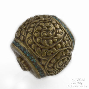 Handmade Vintage Tibetan heavy brass repoussé focal bead with crushed turquoise inlay 24x28mm. b18-0345-2(e)