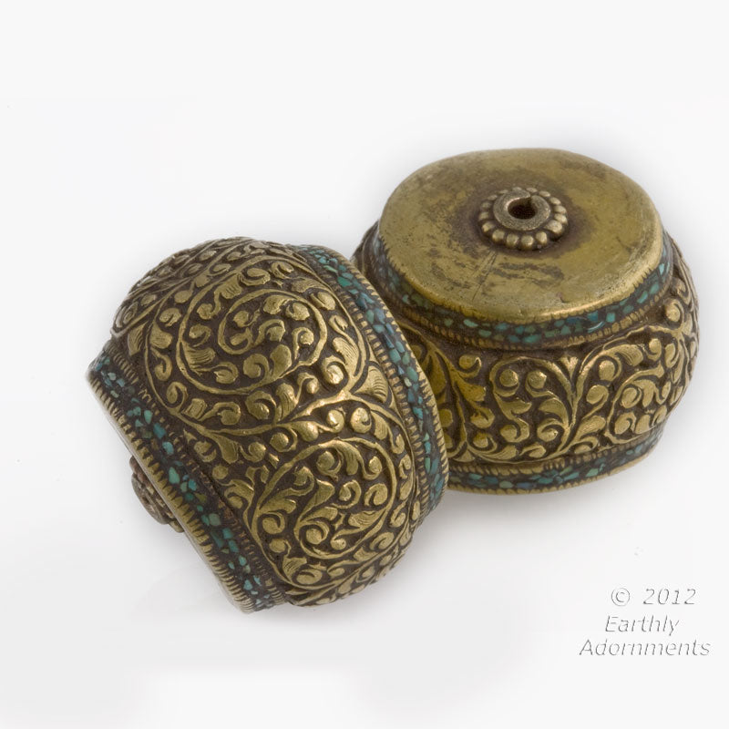 Handmade Vintage Tibetan heavy brass repoussé focal bead with crushed turquoise inlay 22x23mm. B18-0345-1