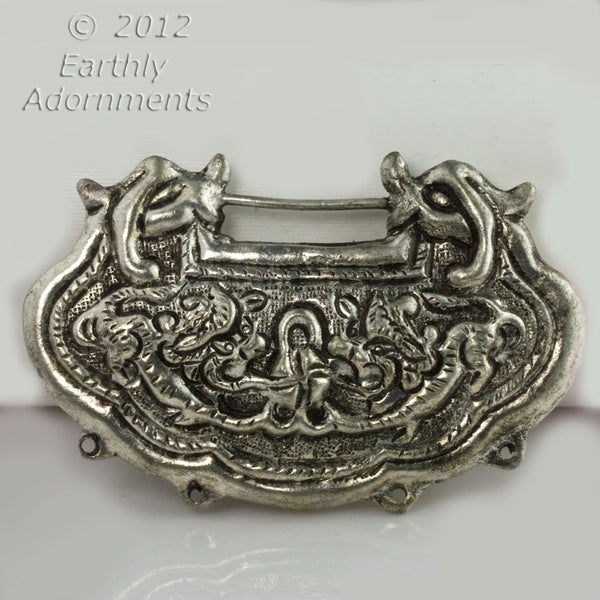 Vintage Chinese silver over copper hollow Chinese lock pendant.