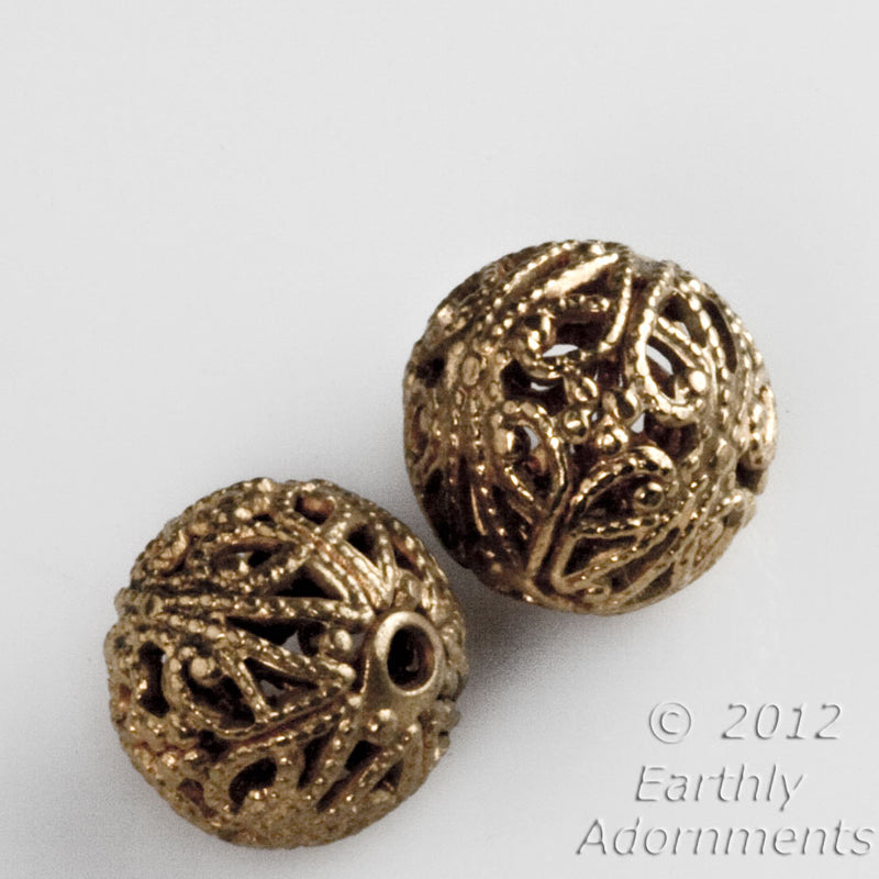Vintage brass filigree bead. 8mm. Package of 6. B18-0410