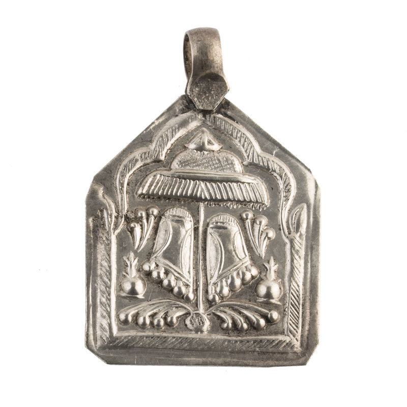 Antique Vintage coin  silver Hindu amulet pendant depicting Vishnu's footprints. 51x35mm.b18-0615cs