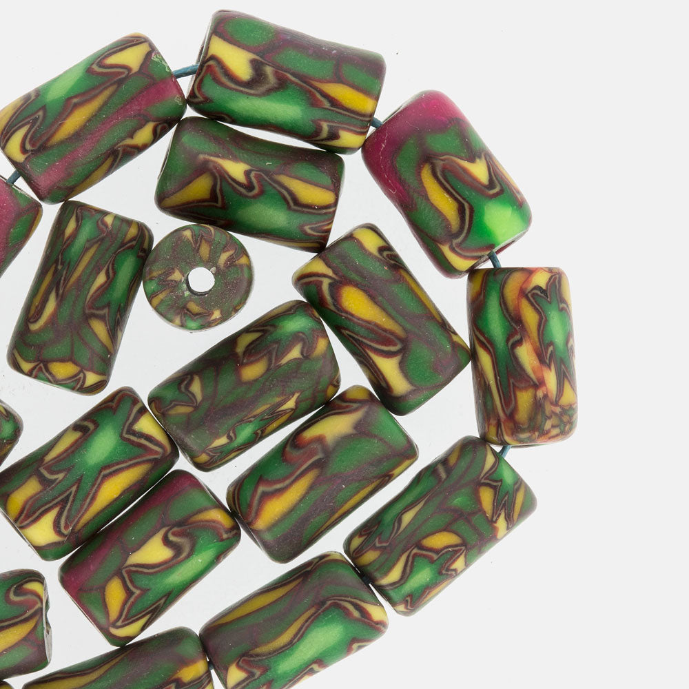 Vintage Venetian millefiore beads, average 15x9mm. Sold individually. b1-806cs