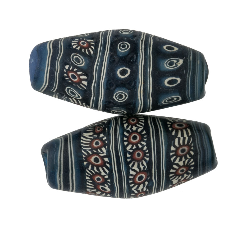 Ancient Indonesian Jatim bead replica. 31x15mm. Sold individually. b1-811