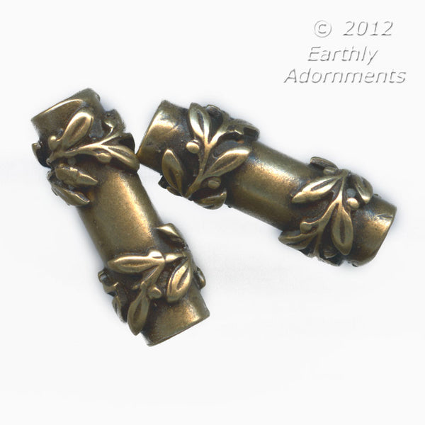 Antiqued brass vine wrapped tube 14x5mm. sold individually. B18-0360(e)