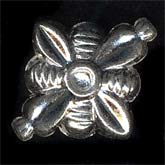 Vintage hollow silver metal beads. 20x17mm. India. Pkg of 10. b18-0164(e)
