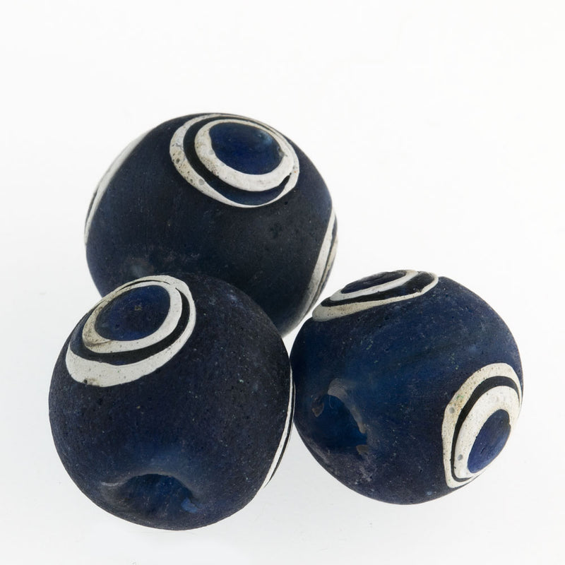 Ancient Indonesian dark blue glass eye bead reproduction. 16-17mm. Sold individually. b1-818-2