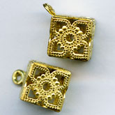 Brass filigree cube pendant, 8mm pkg of 2. b18-0208(e)