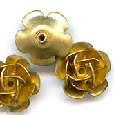 Vintage solid unplated Brass rosette bead. 11mm. Sold individually. B18-0209