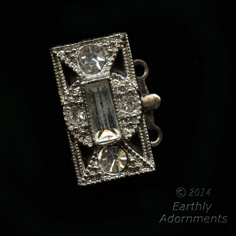 Vintage rhinestone and silver 2-strand push-in box clasp. b8-300(e)