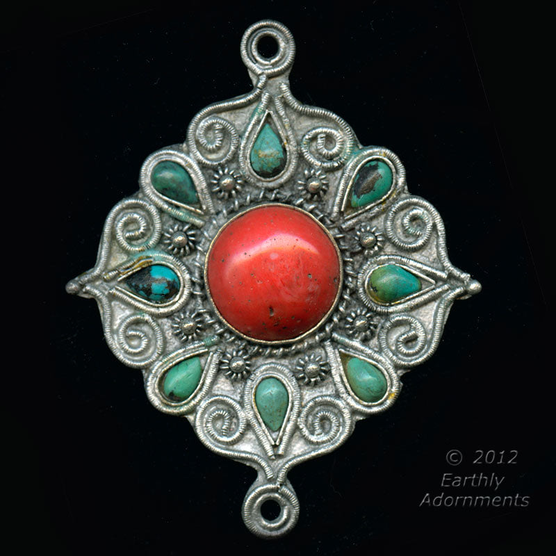Vintage Chinese silver over copper pendant with applied silver decor and turquoise and sherpa coral glass stones. 65x80mm.b18-0363