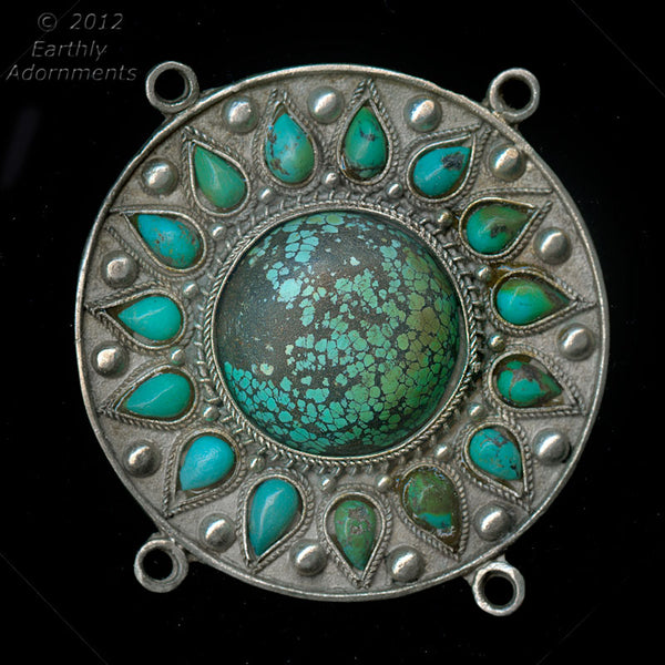 Vintage Chinese imported silver over copper circular 4 ring pendant with turquoise stones and applied decor. 61x61mm. b18-0364(e)