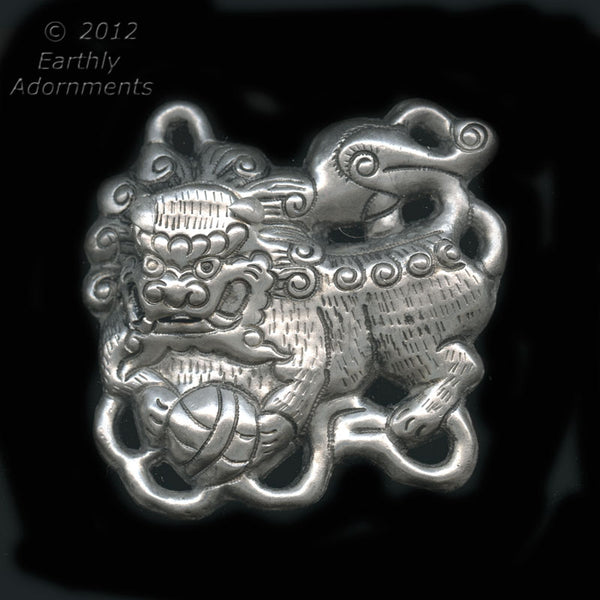 Vintage Chinese silver metal Foo Lion pendant, Ching Dynasty reproduction, 65x65mm. b18-0375(e)