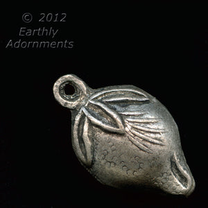 Hollow silver on copper peach charm 10x17mm, Chinese antique replica.  b18-0399