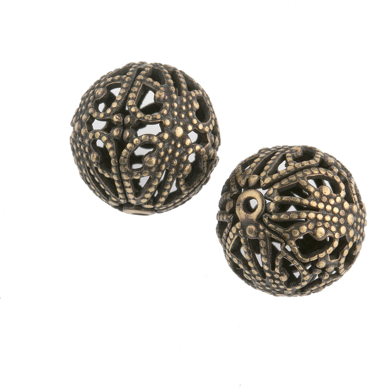 Vintage oxidized brass round filigree bead.17mm. Package of 2. b18-430-2