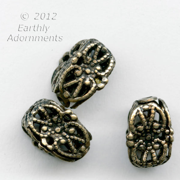 oxidized brass filigree pinched rectangles 10x6mm. Pkg. of 4.