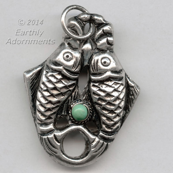 Hollow silver-plated double fish pendant with turquoise stone,