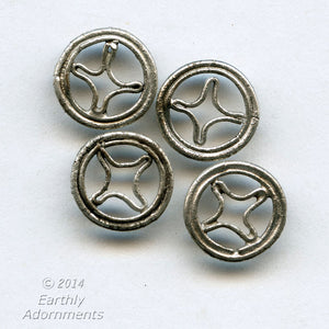 Silver plated flat spacer beads in traditional Chinese coin