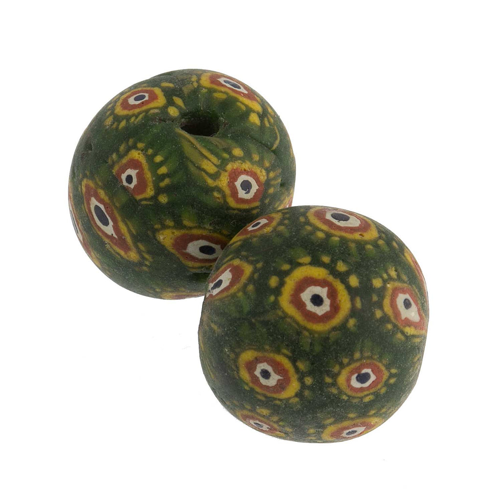 Ancient Indonesian Jatim bead replica. 19mm pkg of 1. b1-850