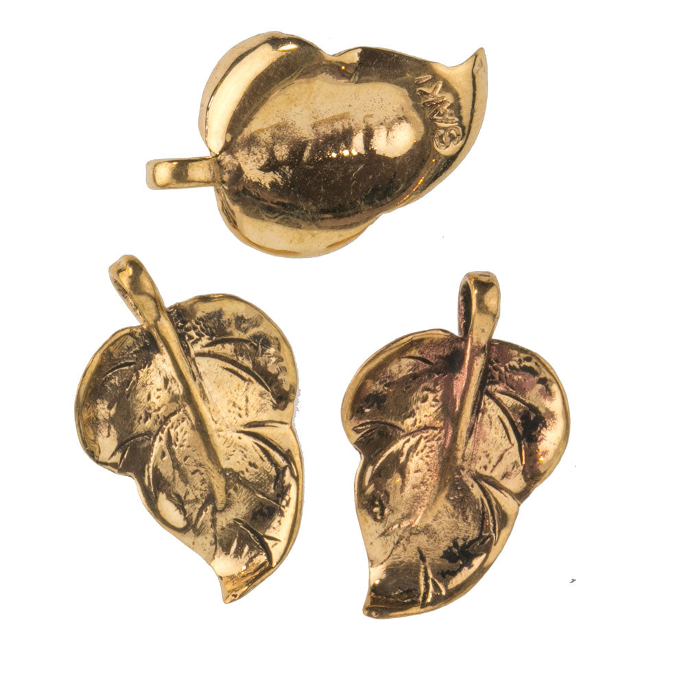 Handmade signed SAKI bronze gold leaf pendants, 24x15mm. Package of 2. b18-573cs