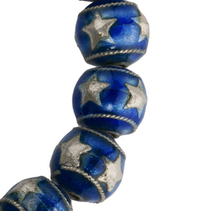 Silver over copper enamel beads with silver stars, 10mm. Package of 2. B18-601