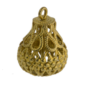 Raw brass filigree 1-ring teardrop pendant.  18x12mm.  Pkg of 4.  b18-624