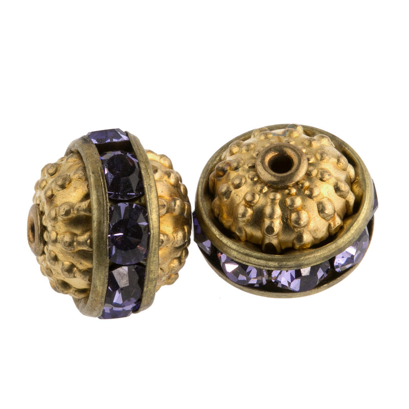Granulated hollow brass bead with Alexandrite glass Austrian crystals.  10mm.  Pkg 2. b18-627