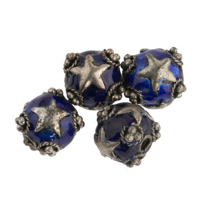 Silver over copper beads with blue enamel and silver stars  9mm. Pkg. 2. b18-629