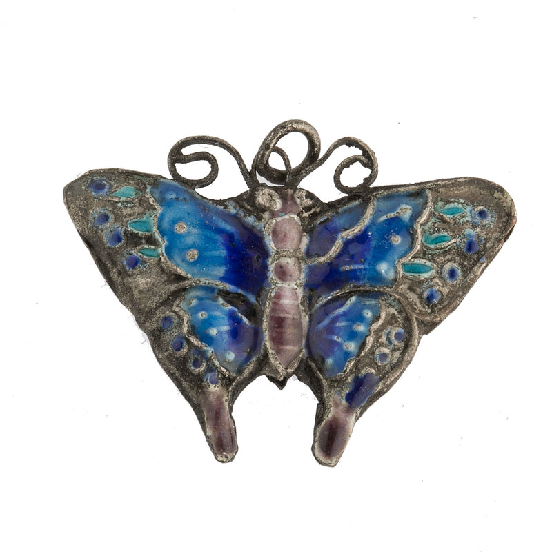 Vintage Chinese export enamel on silver butterfly charm. 1 pc. b18-634