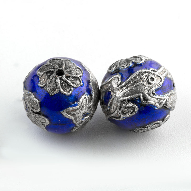 Cobalt blue enamel bead with silver lily pads and frog. 13mm. China. Pkg.1. b18-644