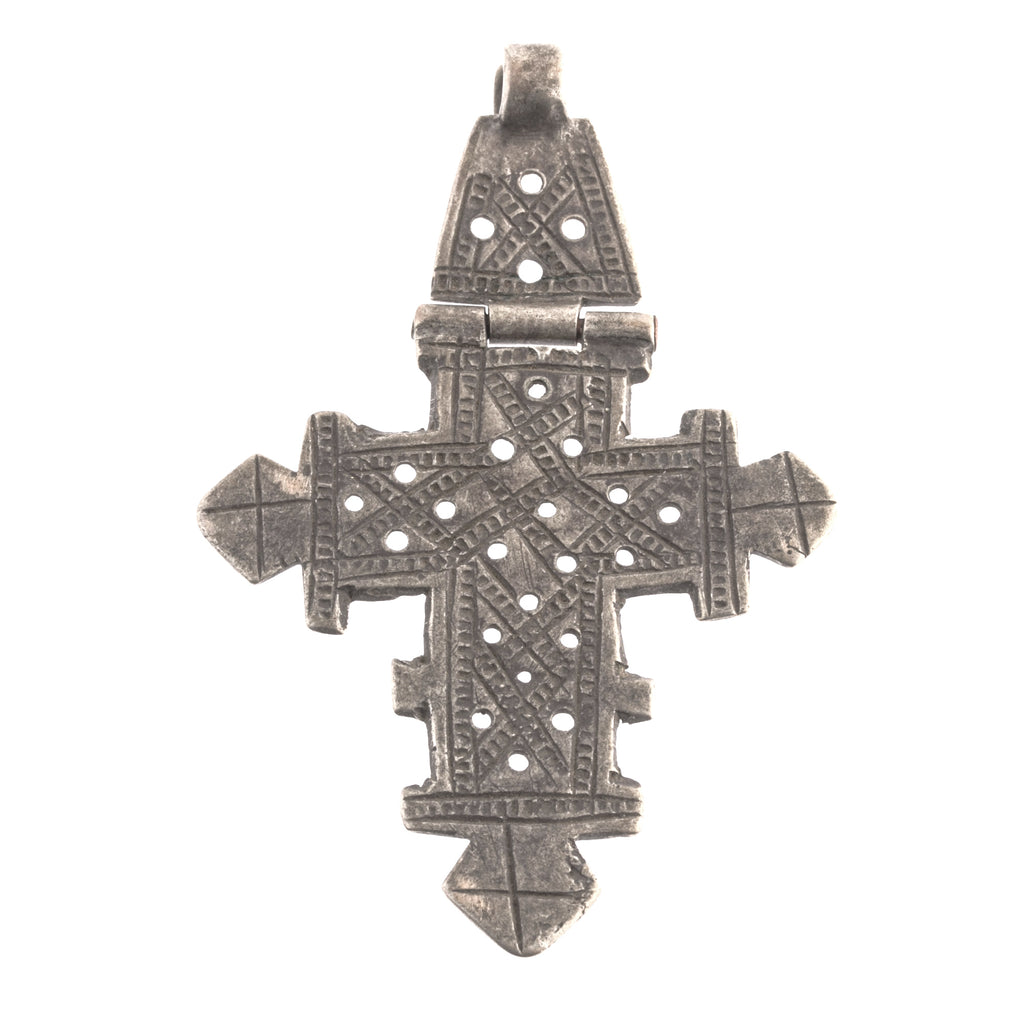 Vintage authentic Ethiopian hinged coptic cross silver pendant with chased lattice work. B18-656cs