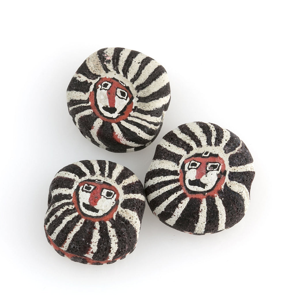 Ancient Roman mosaic glass face bead reproduction bead. 18 to 25mm pkg of 1. b1-869