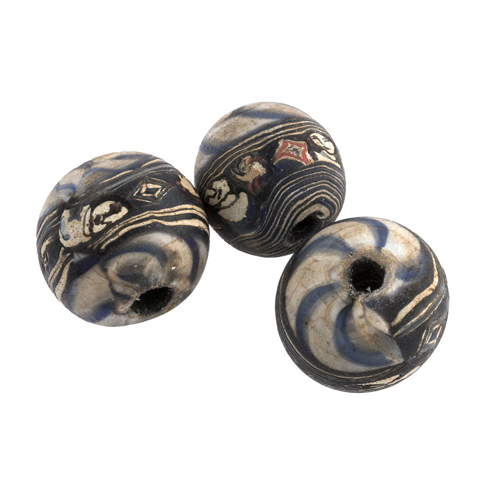 Ancient Indonesian Jatim bead replica. 19mm. Sold individually. b1-874