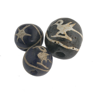 Set of 3 Ancient Indonesian Jatim Bird Star Replica beads.  b1-880