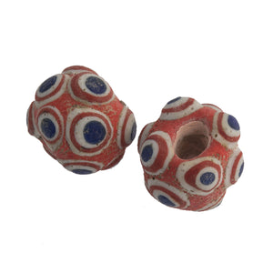 Ancient Mediterranean glass eye bead reproduction. 20 to 21mm. Pkg 1. b1-888