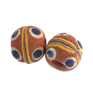 Ancient Mediterranean glass eye bead reproduction.  20mm. Pkg 1.  b1-889