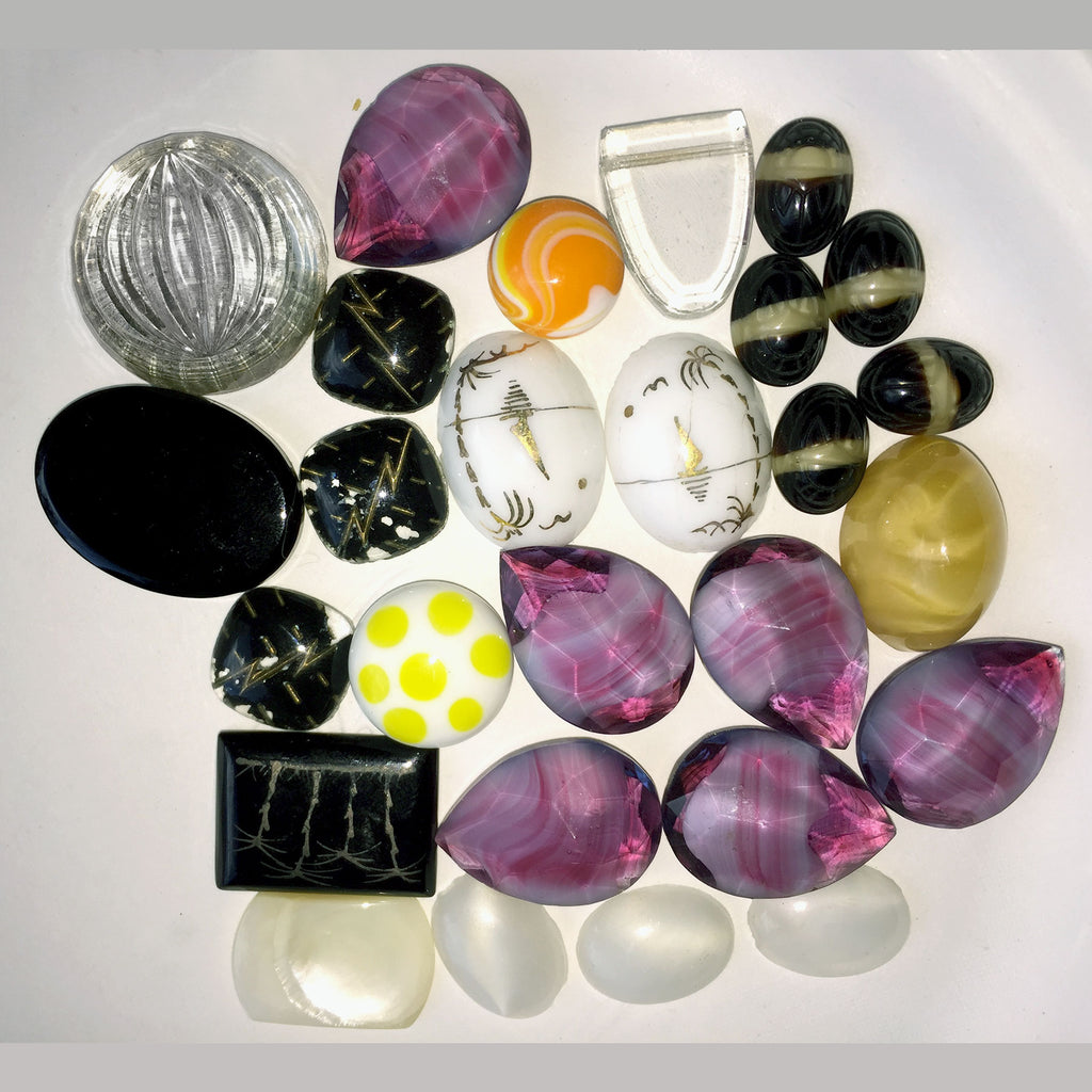 A grab bag of no hole cabochons and stones.  All vintage glass dating from the 1940s to 1960s. b19-010