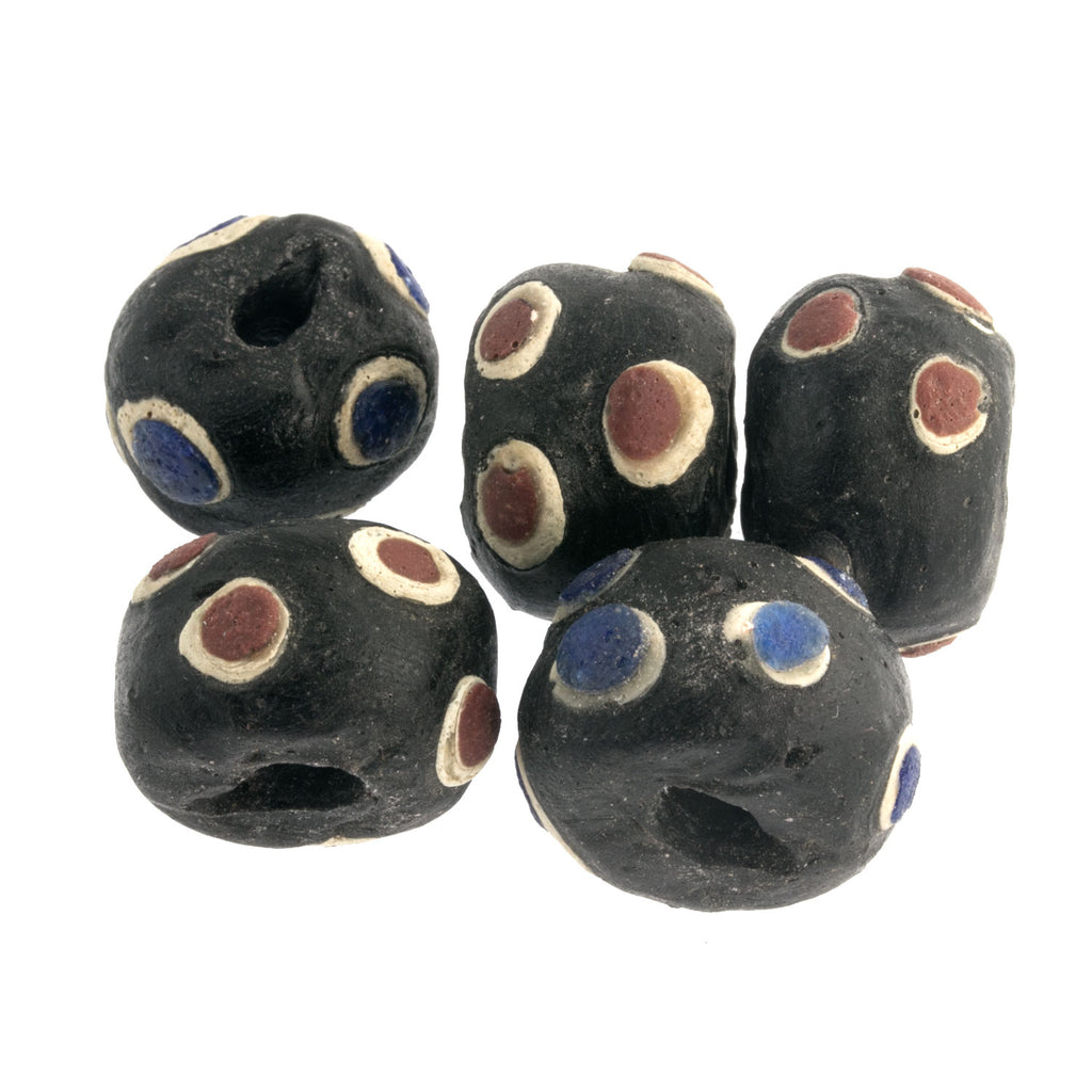 Set of 5 Ancient Mediterranean glass reproduction eye beads.  19mm.  b1-903