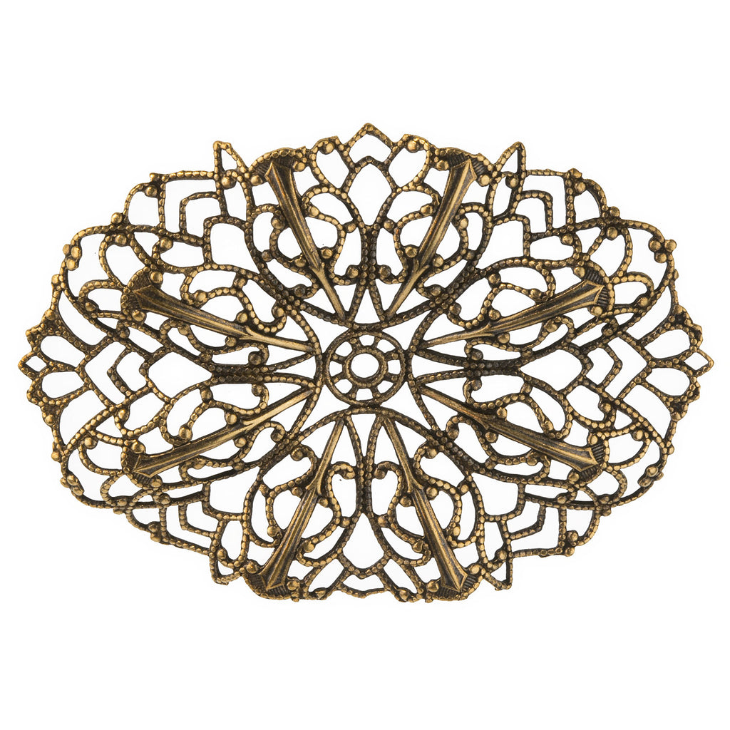 Oxidized brass stamped filigree pendant . 60x45mm Pkg. of 1. b9-0623(e)