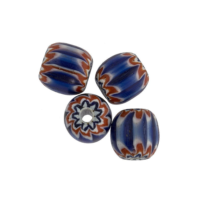 Antique Venetian 6 layer blue chevron beads.  Traded in West Africa 9mm.  Pkg of 4.  b1-908cs