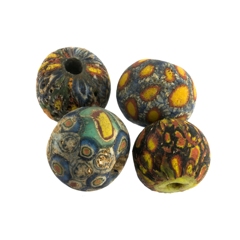 Ancient Indonesian Jatim bead replicas. one of a kind group of 4. b1-915
