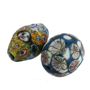 Ancient Indonesian Jatim bead replicas. one of a kind group of 2. b1-916-2