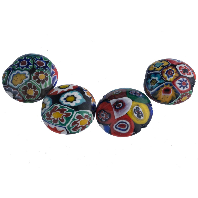 Vintage Murano millefiore flower disk beads, 1950s. group of 4. b1-930