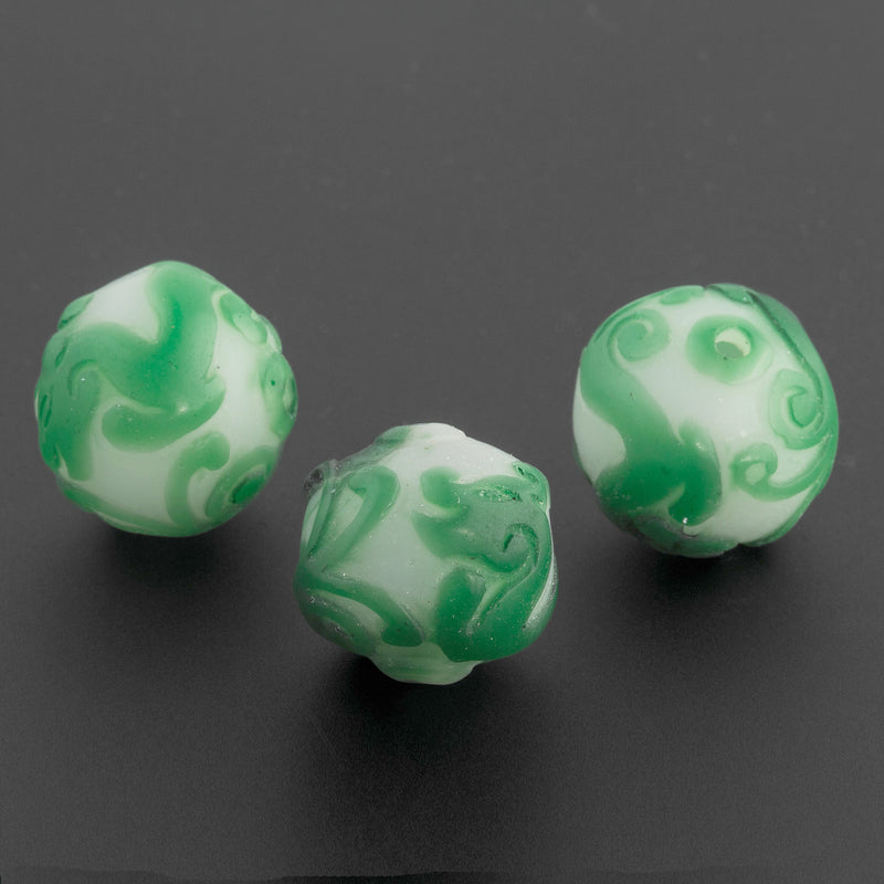 Vintage hand carved bead green dragons on white milk glass round bead.  China.  19x20mm pkg of 1. b1-940