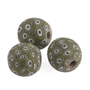 Ancient Indonesian Jatim bead replicas.  Average 18mm. Sold individually. b1-980