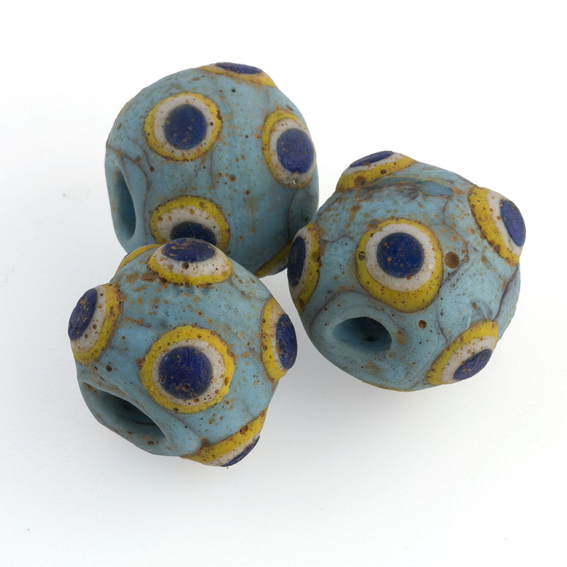 Ancient Mediterranean glass eye bead reproduction.  20mm. Pkg 1.  b1-981