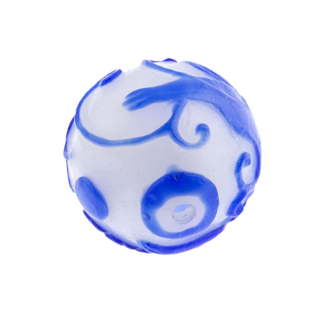 Vintage hand carved Peking Glass bead, cobalt blue Salamander on milk white glass round 28mm pkg of 1. b1-983